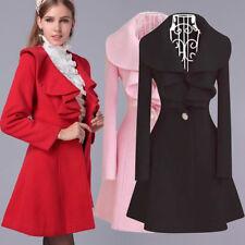 Lady Women Warm Woolen Parka Jacket Long Coat Trench Outwear Slim Windbreaker