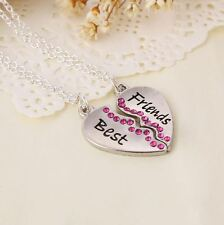 Best Friends BFF Rhinestone Heart Charm Silver 2 in 1 Pendant Necklace UK
