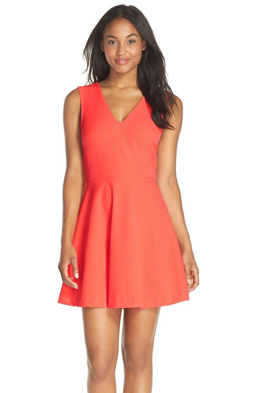 damen Felicity & Coco Cutout Bow Back Fit Flare Dress Large Neon Coral 4242