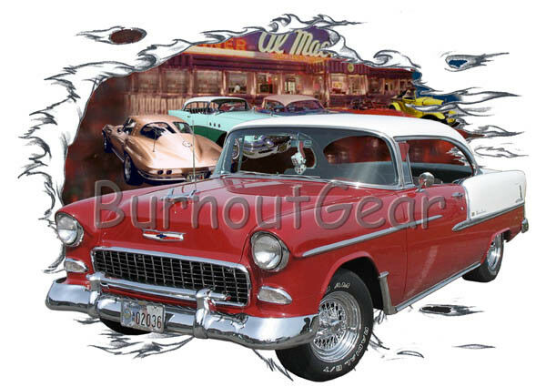 1955 ROT Chevy Bel Air H Td Custom Hot Rod Diner T-Shirt 56 Muscle Car Tee's