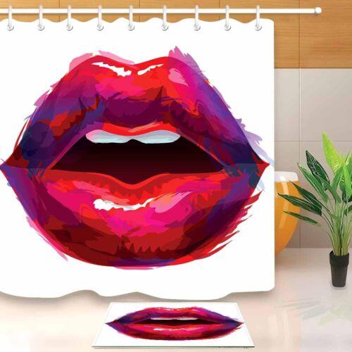 Beautiful Painted Lips Shower Curtain Liner Bathroom Mat Waterproof Fabric 180CM