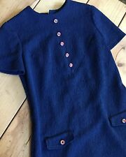 Vintage Blue Shift Dress with Red and White Buttons Front Pockets Retro Style