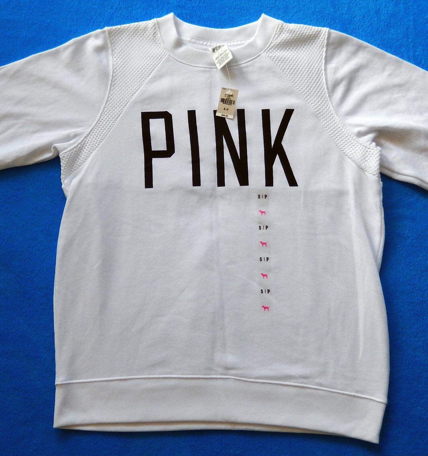 Victorias Secret Secret Secret PINK Boyfriend Crew Sweatshirt White with Mesh Small NWT 270bef