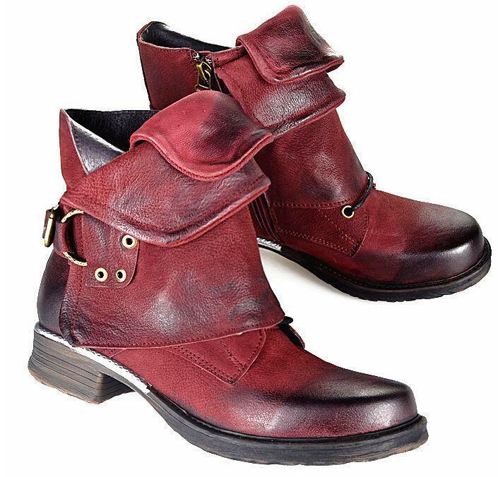Punk Donna Retro Stylish Buckle Strap Shoes Combat Block Riding Ankle Stivali