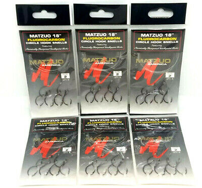 "MATZUO 18/"" FLUOROCARBON CIRCLE HOOK SNELLS 4 PACKS SIZE #2"