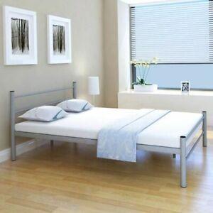 vidaXL-Bedframe-Metaal-Grijs-140x200-cm-Bed-Bedden-Frame-Frames-Ombouw-Slaap