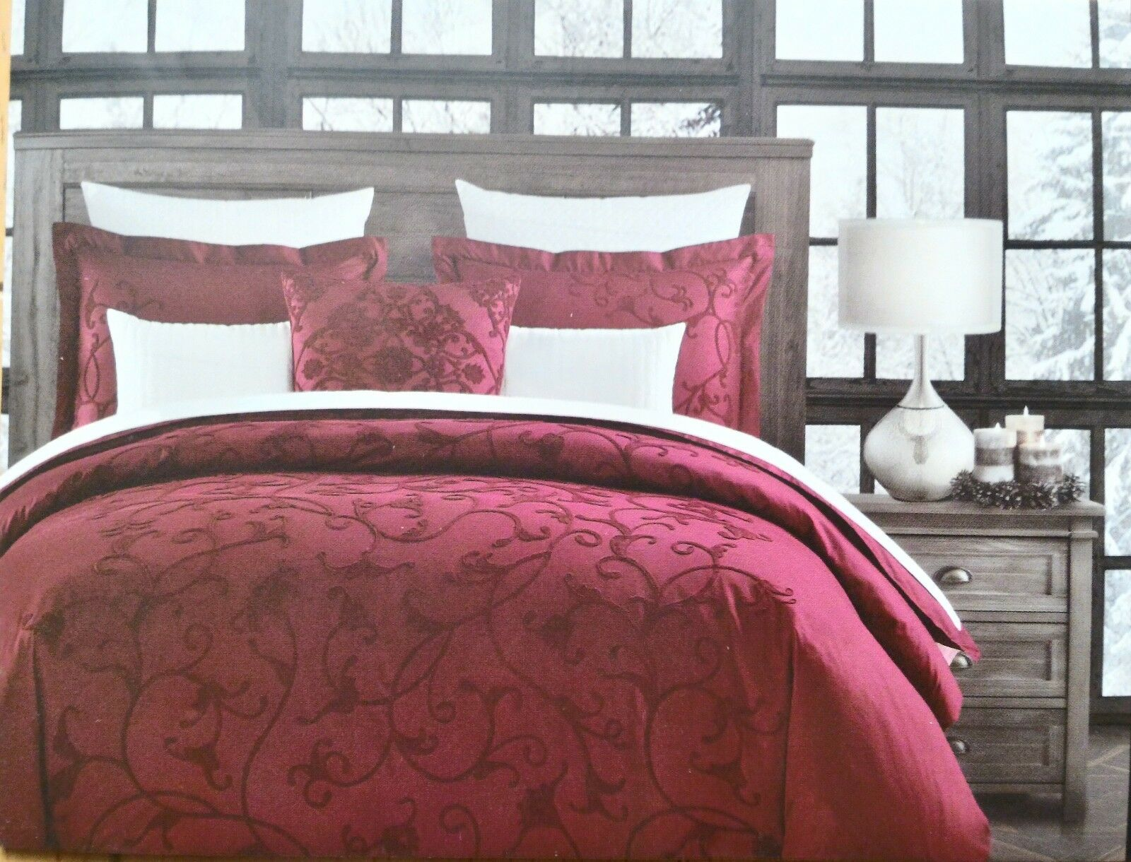 NEW Tahari Red Rich Embroidered 3 pcs QUEEN Duvet Cover Sham Bedding Set