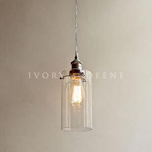 Allira glass pendant filament light chrome fittings industrial vintage