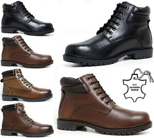 Mens-Leather-Boots-New-Winter-Army-Military-Combat-Ankle-Hiking-Boots-Shoes-Size