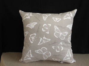 Neutral-Taupe-White-Butterfly-Text-Insect-Feature-Cushion-Cover-45cm-Au-Made