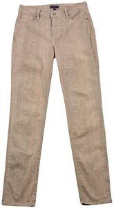 NYDJ-Femmes-Pantalon-Jeans-Bootcut-Beige-Creme-Coton-Bouton-Poche-Zip-US6-UK10
