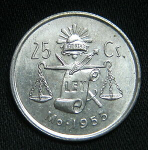 ROUND CAP /& RAY BALANCE SCALE COIN 25 Centavos 1951 Mexican 30/% Silver AU