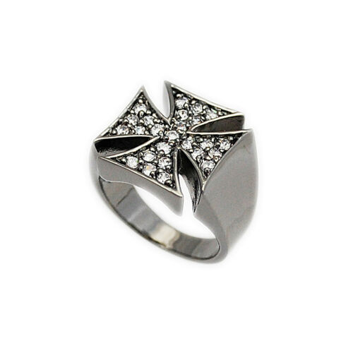 Details about  /WHITE CZ PAVE MALTESE CROSS BRASS RUTHENIUM PLATED BIKER JEWELRY RING nd-r018