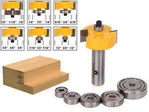 "1/2"" Height with 6 Bearings Rabbet Router Bit & Bearing Set - 1/2"" Shank - Yonic"