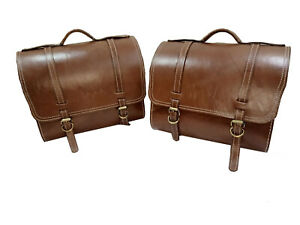 Details About New Saddle Bags Side Bag Pair Tan Leather For Classic Standard Universal Royal