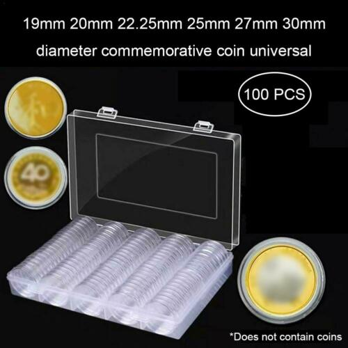 100pcs 30mm Coin Case Capsules Holder Storage Organizer Box Collection Supplies