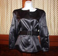 Oscar De La Renta Women's Luxe  Black Silk Blazer Jacket with Belt Size 6 US