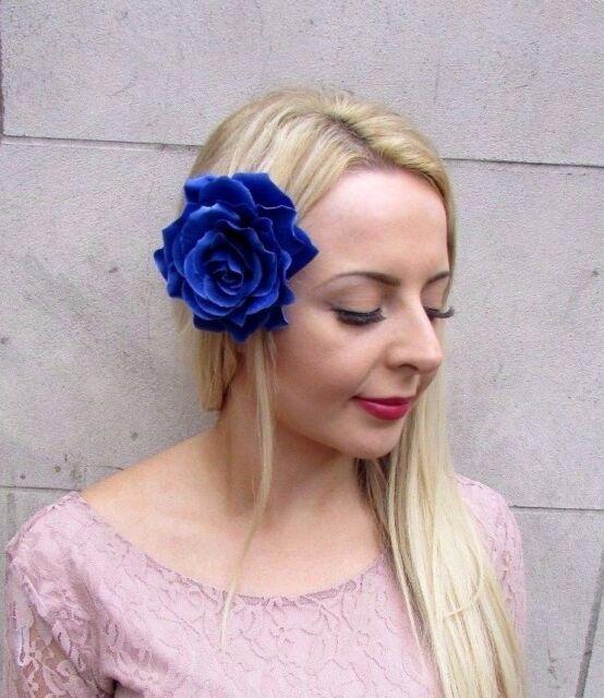 b967eb3cf0 Large Royal Blue Rose Flower Hair Clip Fascinator Bridesmaid 50s Rockabilly  j99