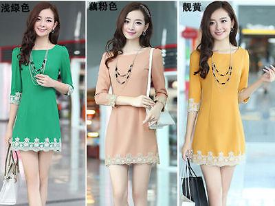 Wholesale fashion lady temperament Slim thin lace sleeve dress Korean version