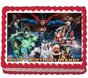 Justice League Edible Cake Topper Image Decoration Party