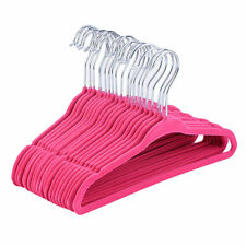 "SsMook 120PC Slim Space Saving Non-slip Velvet Velour Pink Hangers 17.7"", 18"""
