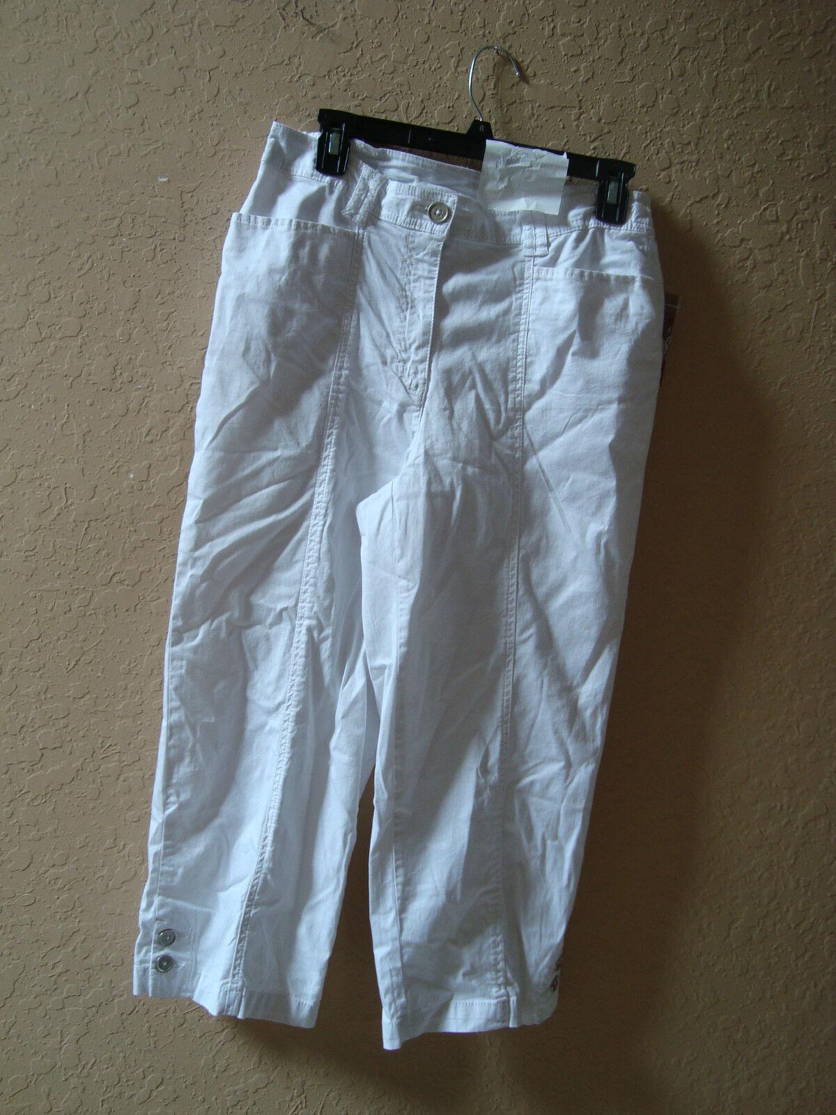 New JM Collection Womens White Capri Pants 8