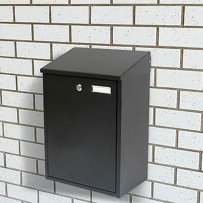 Wall Mounted Large Black Locking Mail/Post/Newspaper Box House/Office/Mailbox
