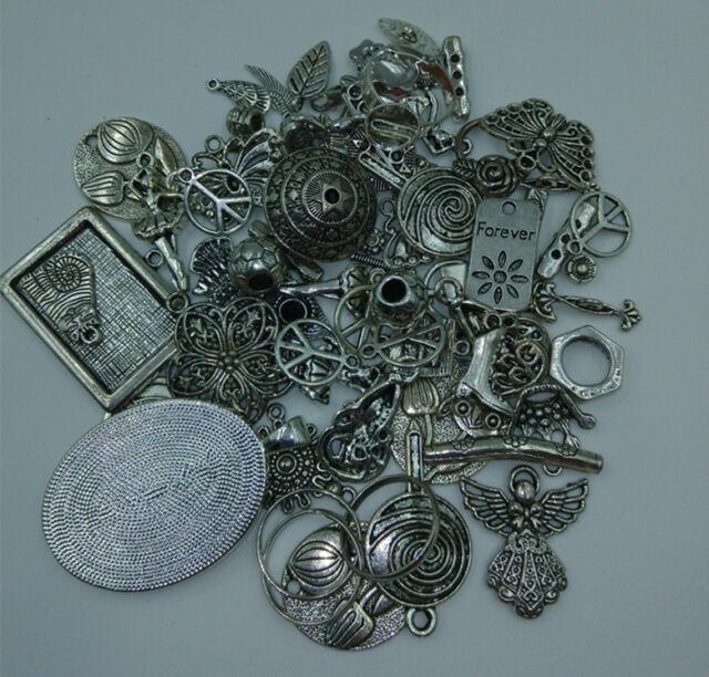 DIY 50g lot Mixed Tibetan Antique Silver Charms Beads Pendants Connector Spacer