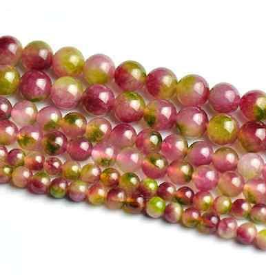 Natural Watermelon Quartz Tourmaline Gemstone Beads 15.5'' 4mm 6mm 8mm 10mm 12mm