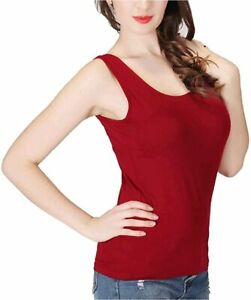 Ibeauti Plus Size Womens Tank Tops with Built in Bra Padded Yoga, Wine, Size