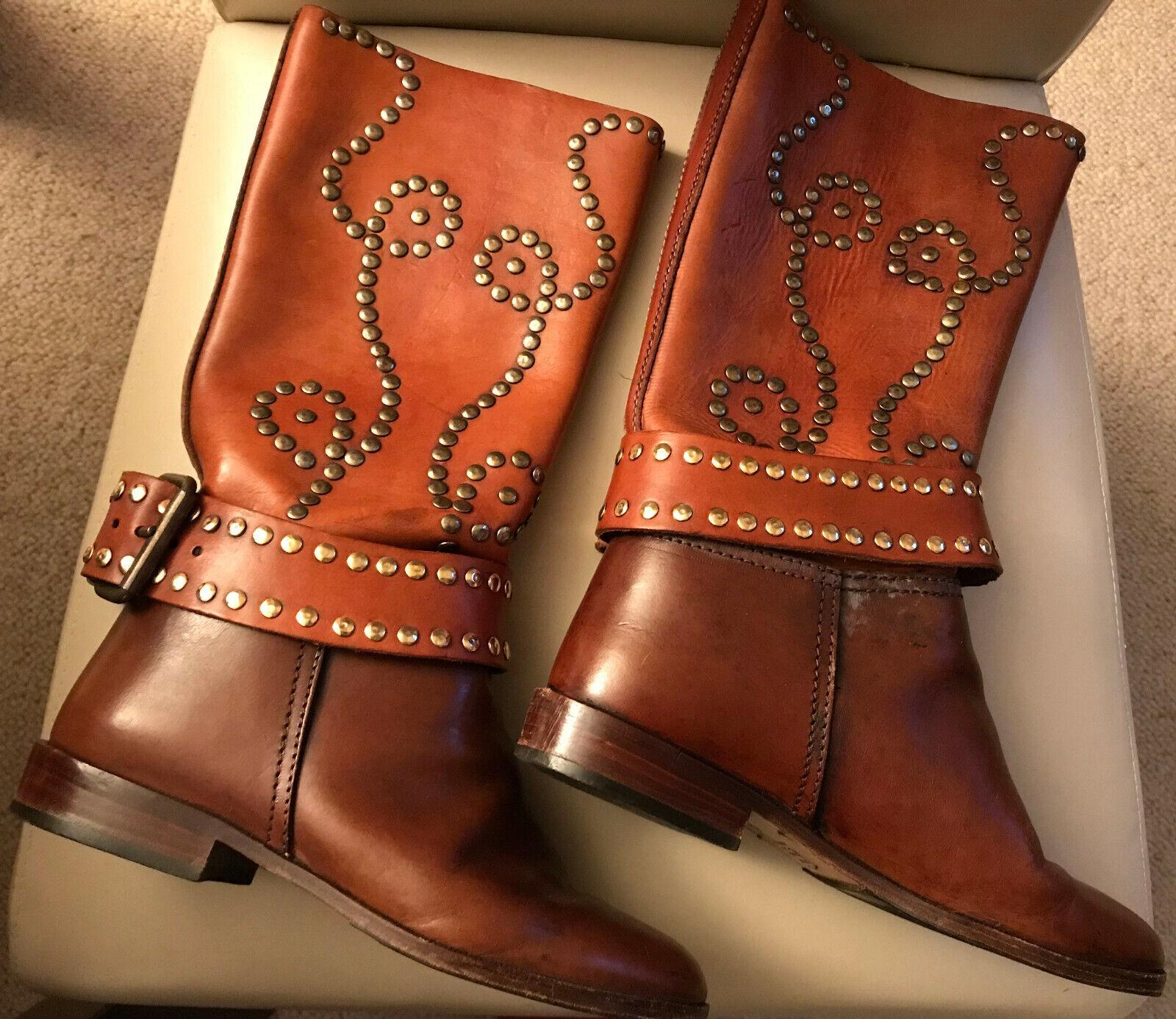 Original Bottes Western Cowboy Bottes T 36 Marron Rivets Boucle CA hauteur 34 cm
