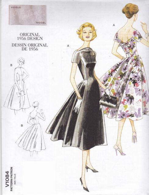 1084 Original 1956 Vintage Design Vogue Dress Sewing Pattern Size 6 ...