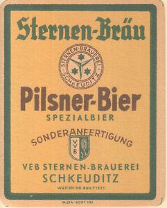 1 Bieretikett Schkeuditz    DDR
