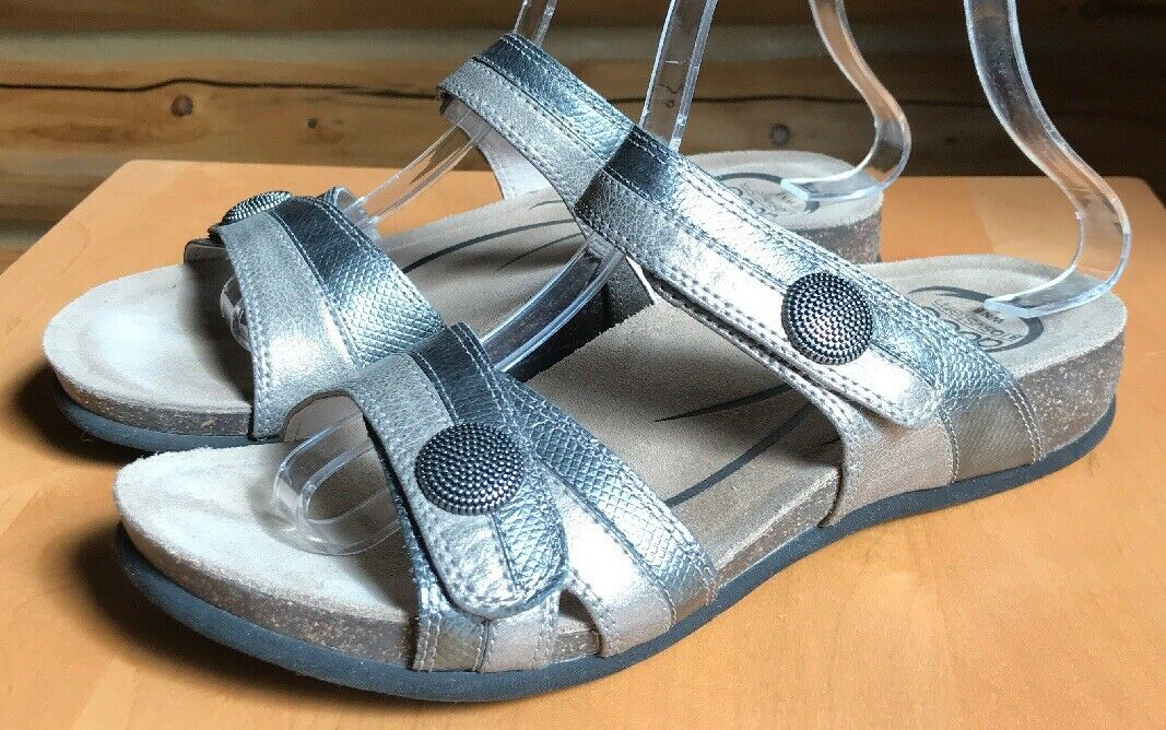 Abeo Women's Barbara Metallic Pewter Leather Slip On Comfort shoes Size 8N