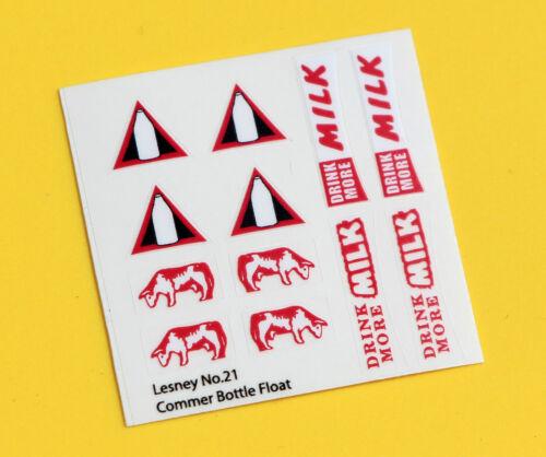 """LESNEY No.21 /""""Commer Bottle Milk Float/"""" Remplacement Autocollant Decal Set"""