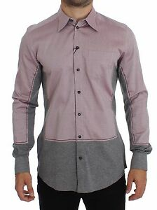 NWT-DOLCE-amp-GABBANA-Red-Gray-GOLD-Slim-Fit-Casual-Mens-Shirt-s-39-s