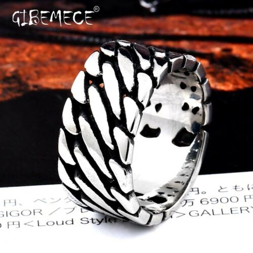Man Wide Chain Knitting Ring Personality Exagerrated Stainless Steel Special
