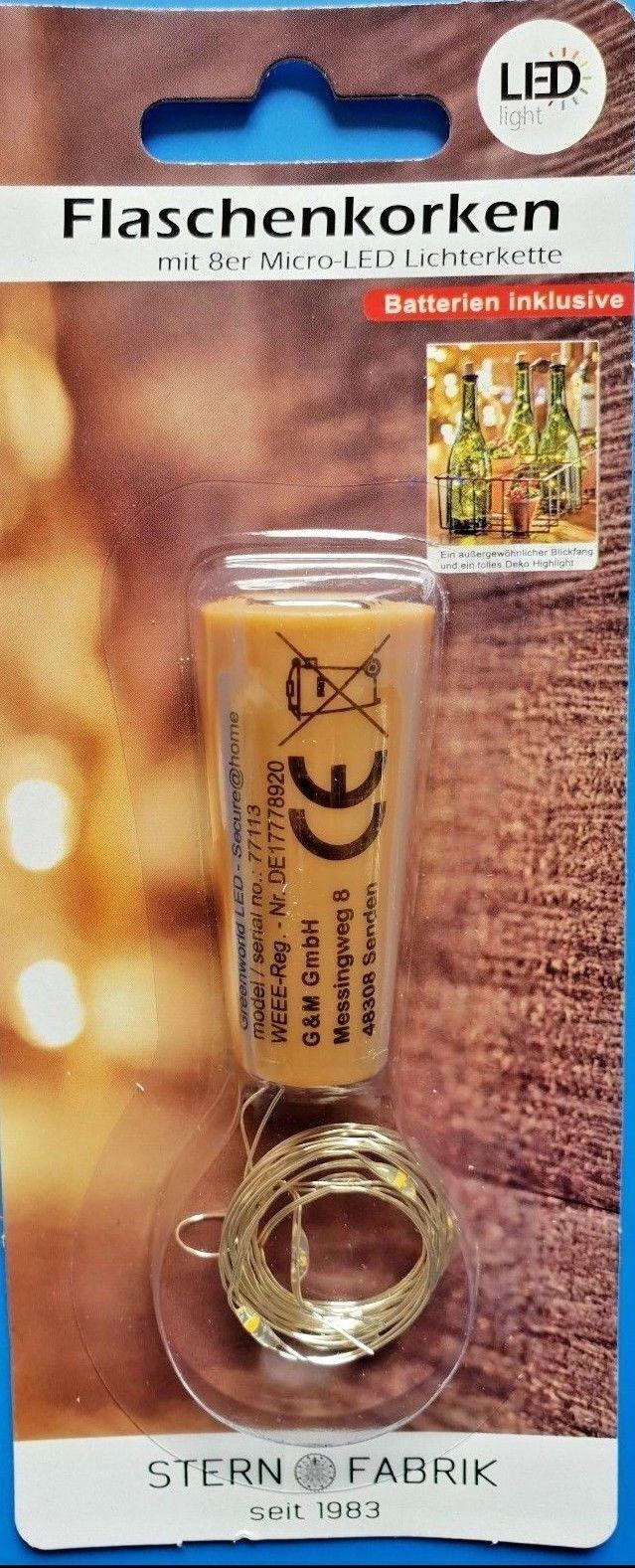 8er Korken Led Lichterkette Draht Flaschenlicht Weinflasche 5 10 24 48 St. Licht