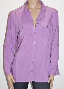 Millers-Brand-Purple-Long-Sleeve-Lace-Yoke-Shirt-Size-14-BNWT-sH75