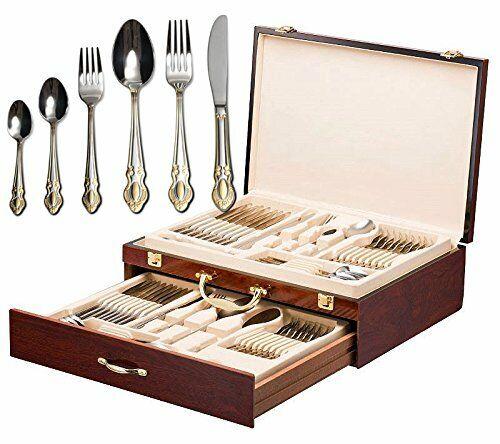 Italian Collection 'Monarch' 75-Pc Premium Flatware Set w Wooden Storage Case