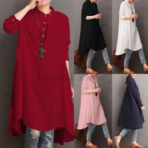 ZANZEA-Femme-100-Coton-Boutons-Manches-longues-Loose-Tops-Haut-Chemise-Long