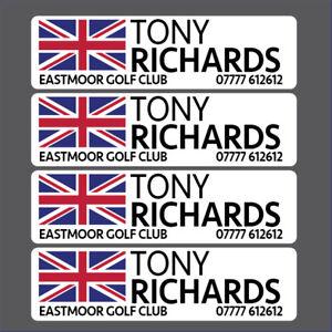 Personalisiert Golf Schläger Aufkleber Etiketten 40x12mm Alle Flagge