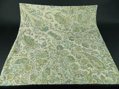 Pottery Barn Blue Green Gold Cream Floral Paisley Throw