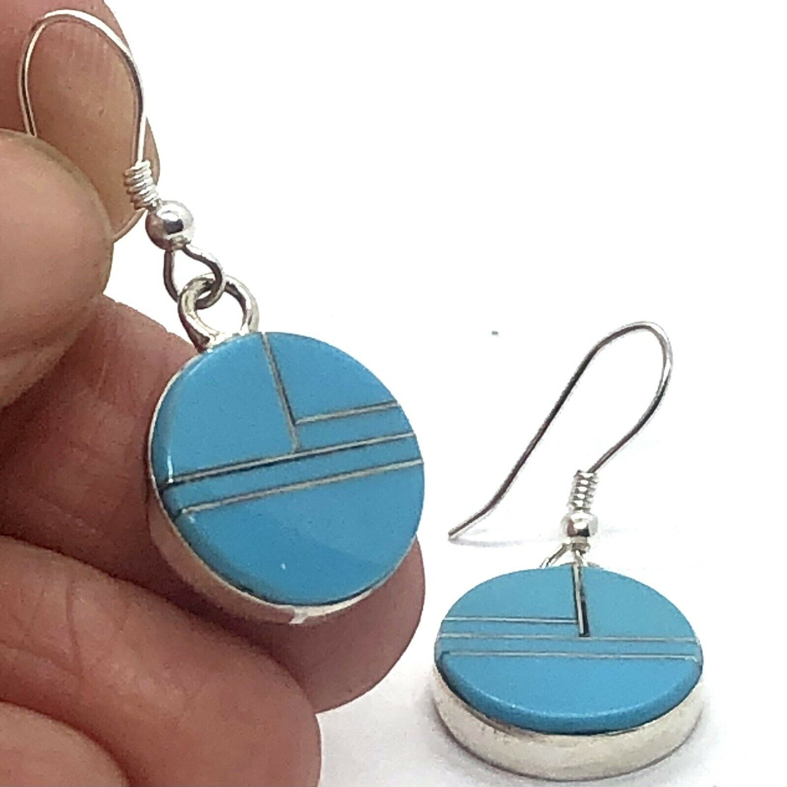 Round Zuni Turquoise Earrings Hook Inlay Sterling… - image 2