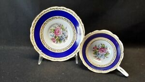 Royal-Stafford-England-8295-Cobalt-Blue-Cream-Multi-Color-Floral-Cup-amp-Saucer