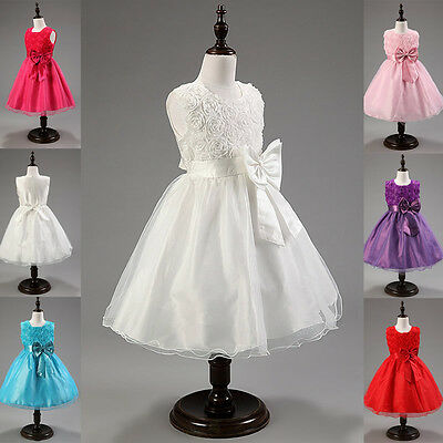 Flower Girls Princess Pageant Dress Wedding Bridesmaid Party Communion Tutu New