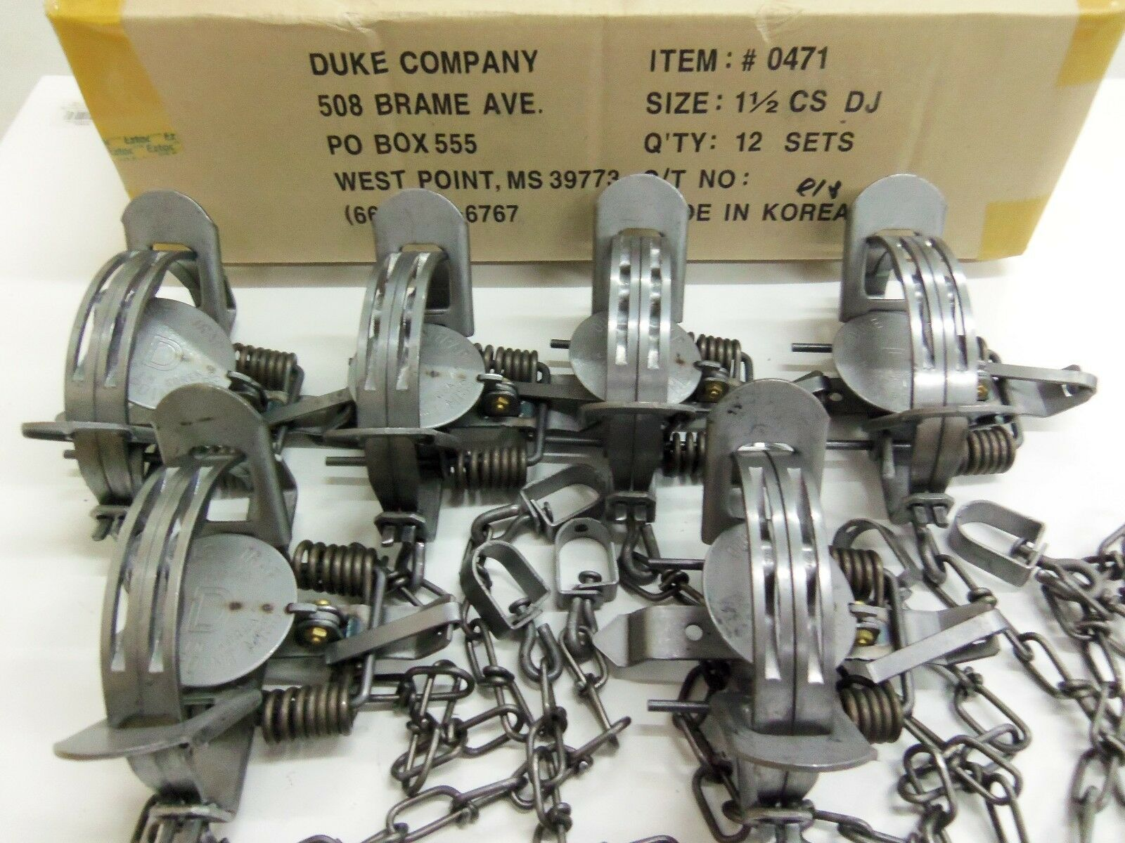 6 Duke   1 1/2 Double Jaw Coil Spring 0471 Trap 0471 Spring Raccoon Mink Nutria Trapping f33680