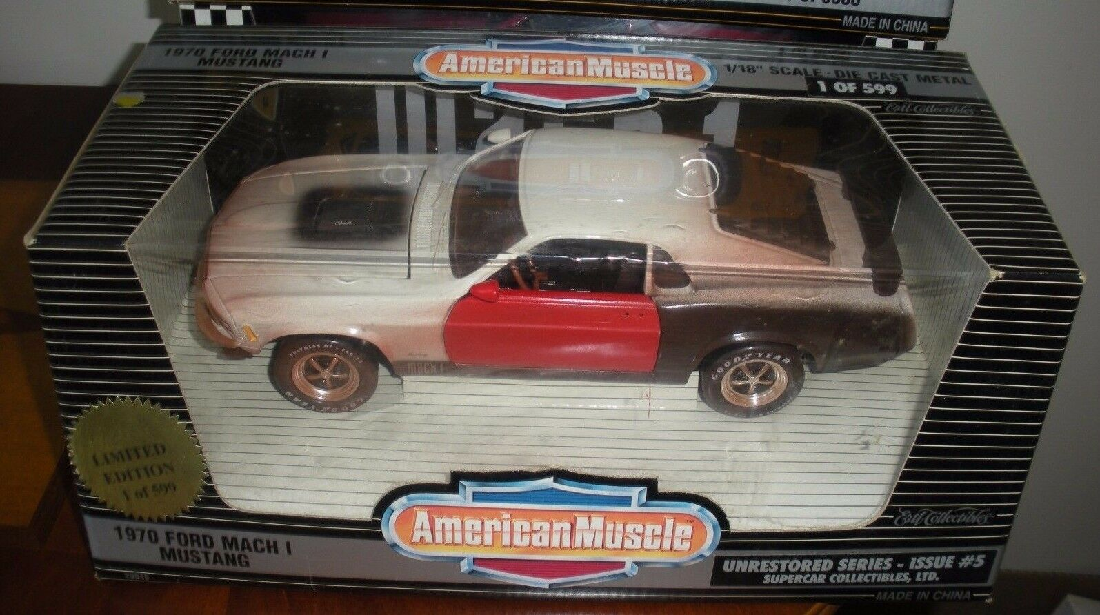 VERY RARE   ERTL AMERICAN MUSCLE 1 18  FORD MACH 1 MUSTANG UNRESTGoldt 1 of 599