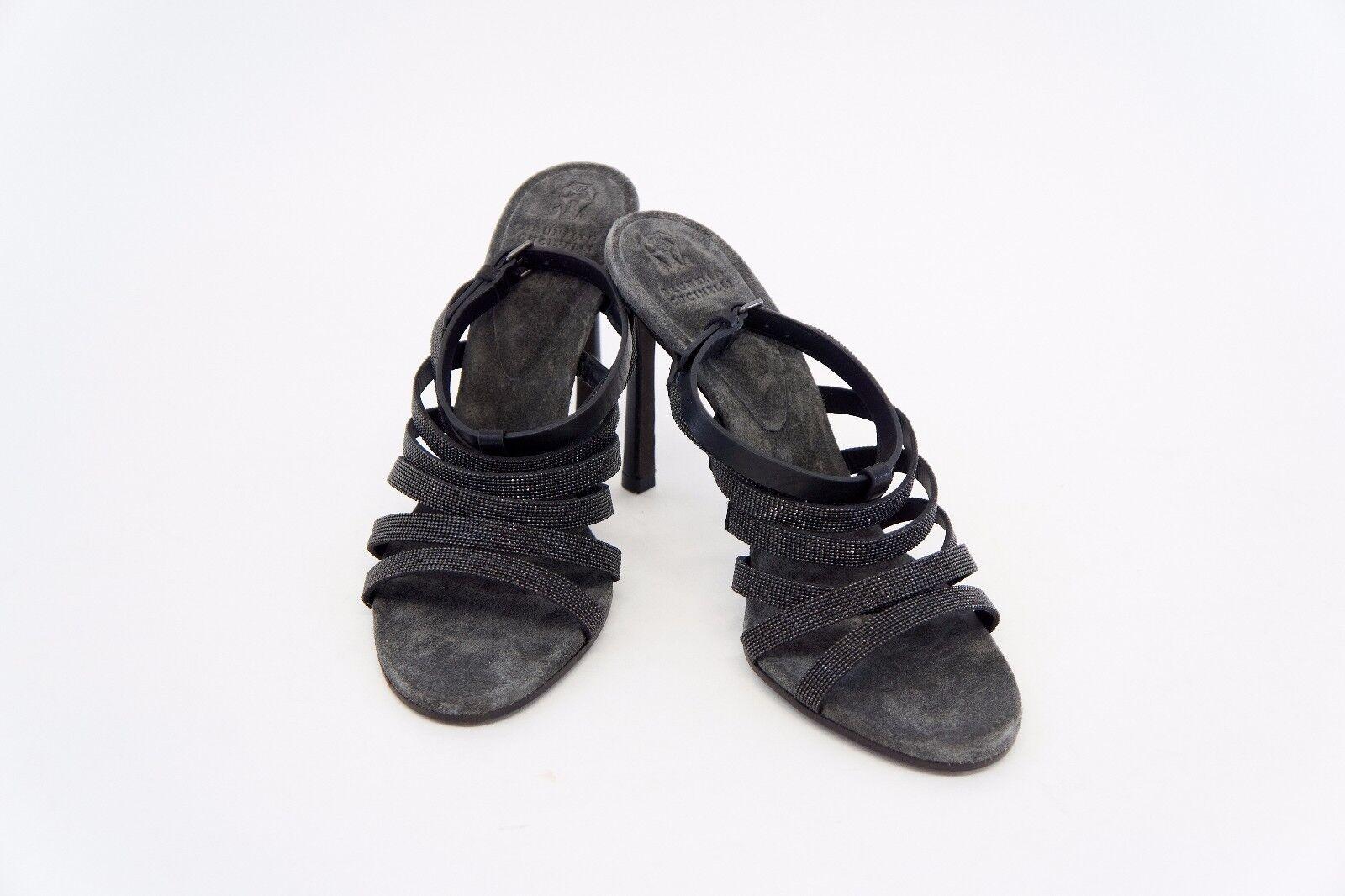 NWOB  1695 Brunello Cucinelli 100% Leather Monili Strap Beaded Sandals 37 7 A176