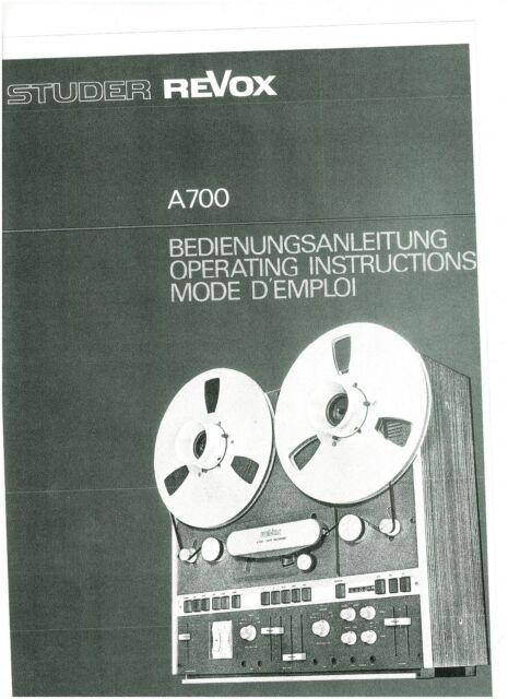 Revox  Bedienungsanleitung user manual owners für  B 77 MK II mehrsprachig Copy
